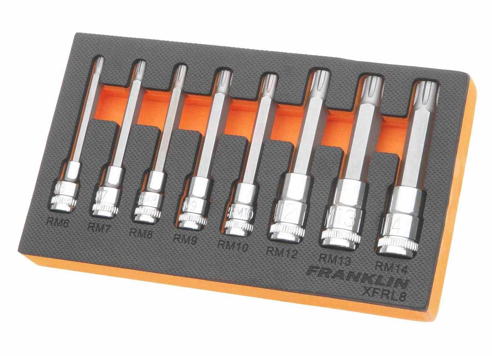 Franklin XF 8 Piece Long Ribe Bit Socket Set Mixed Drive