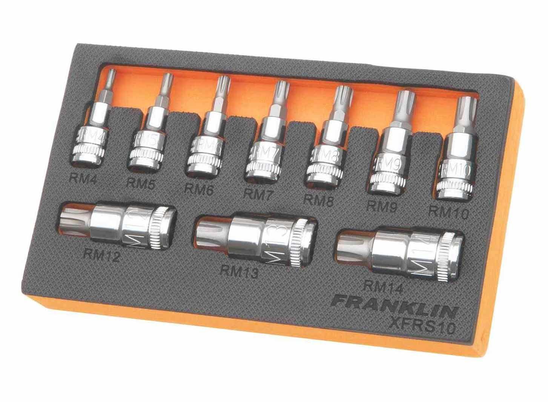 Franklin XF 10 Piece Ribe Bit Socket Set Mixed Drive