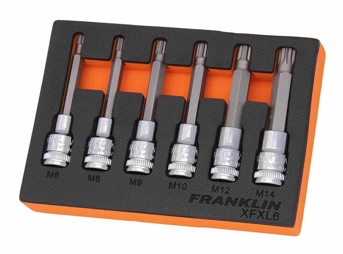 """Franklin XF 6 Piece Long Spline Bit Socket Set 1/2"""" Drive"""