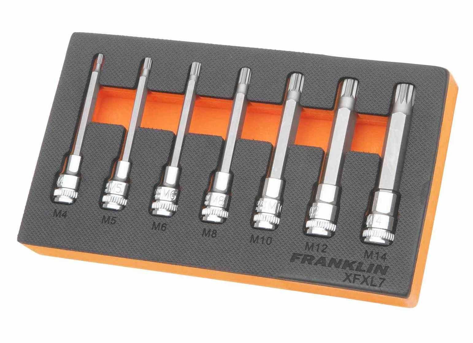 """Franklin XF 7 Piece Long Spline Bit Socket Set 3/8"""" Drive"""