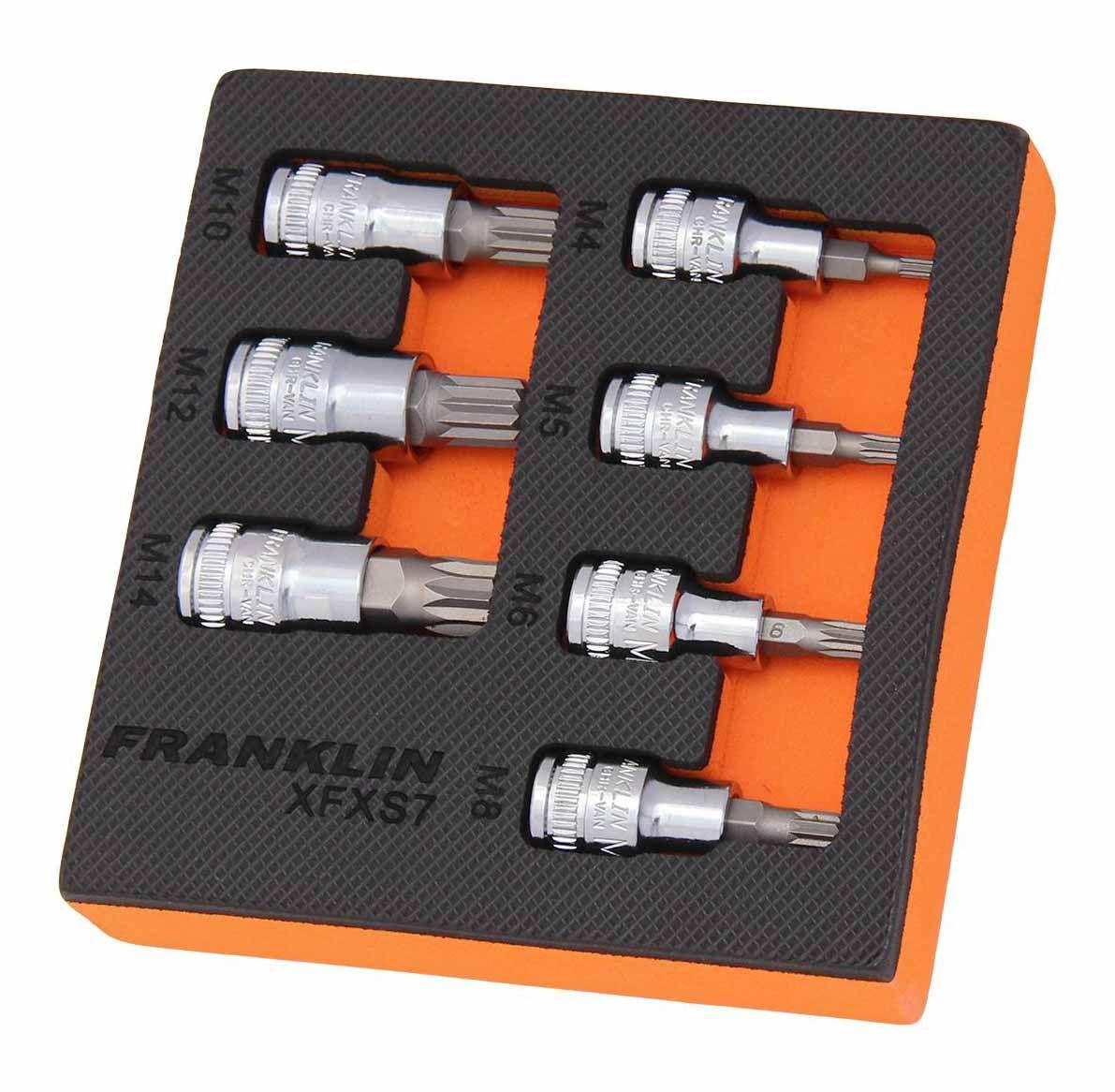 "Franklin XF 7 Piece Spline Bit Socket Set 3/8"" Drive"