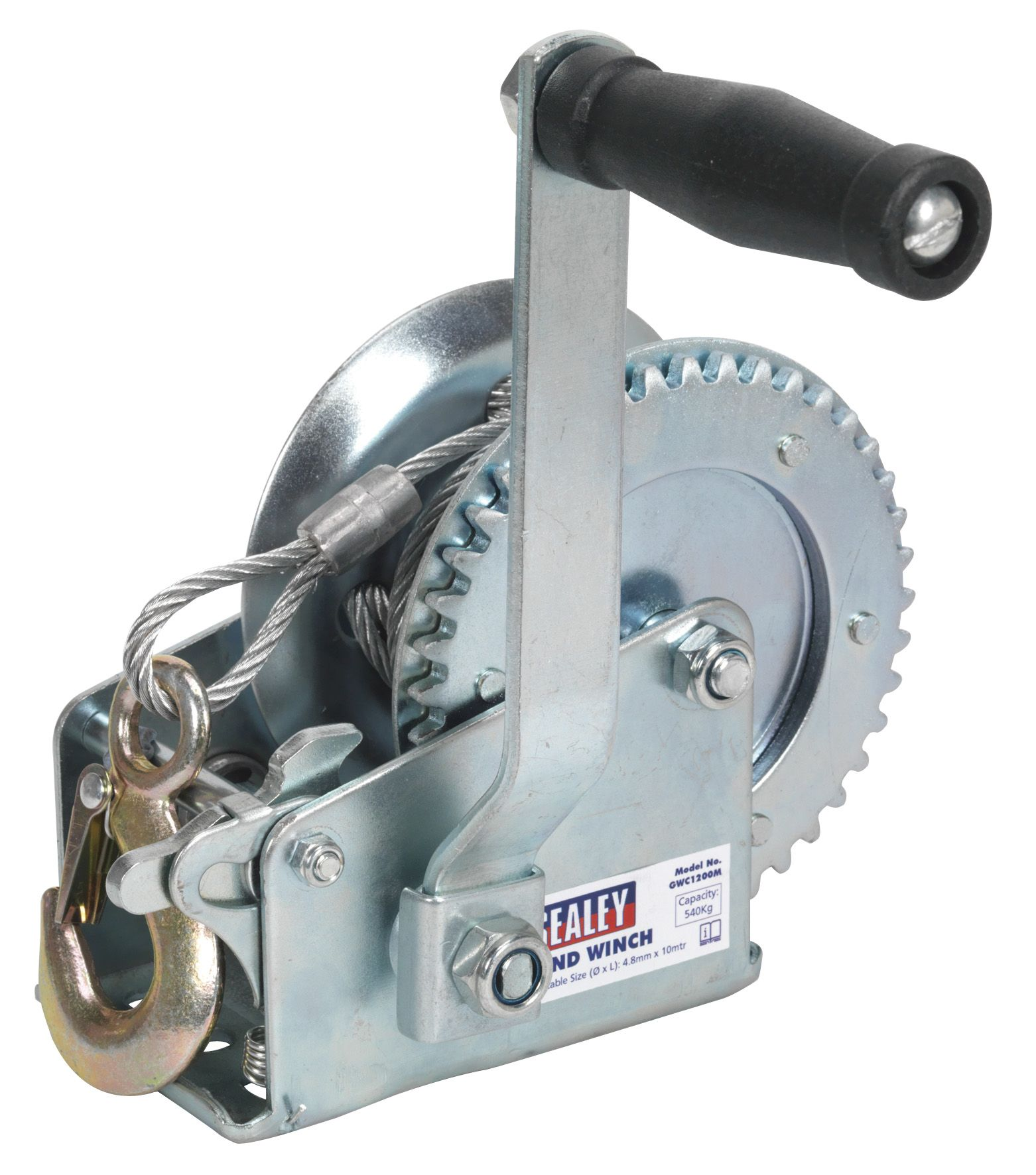 Sealey Geared Hand Winch 540kg Capacity with Cable