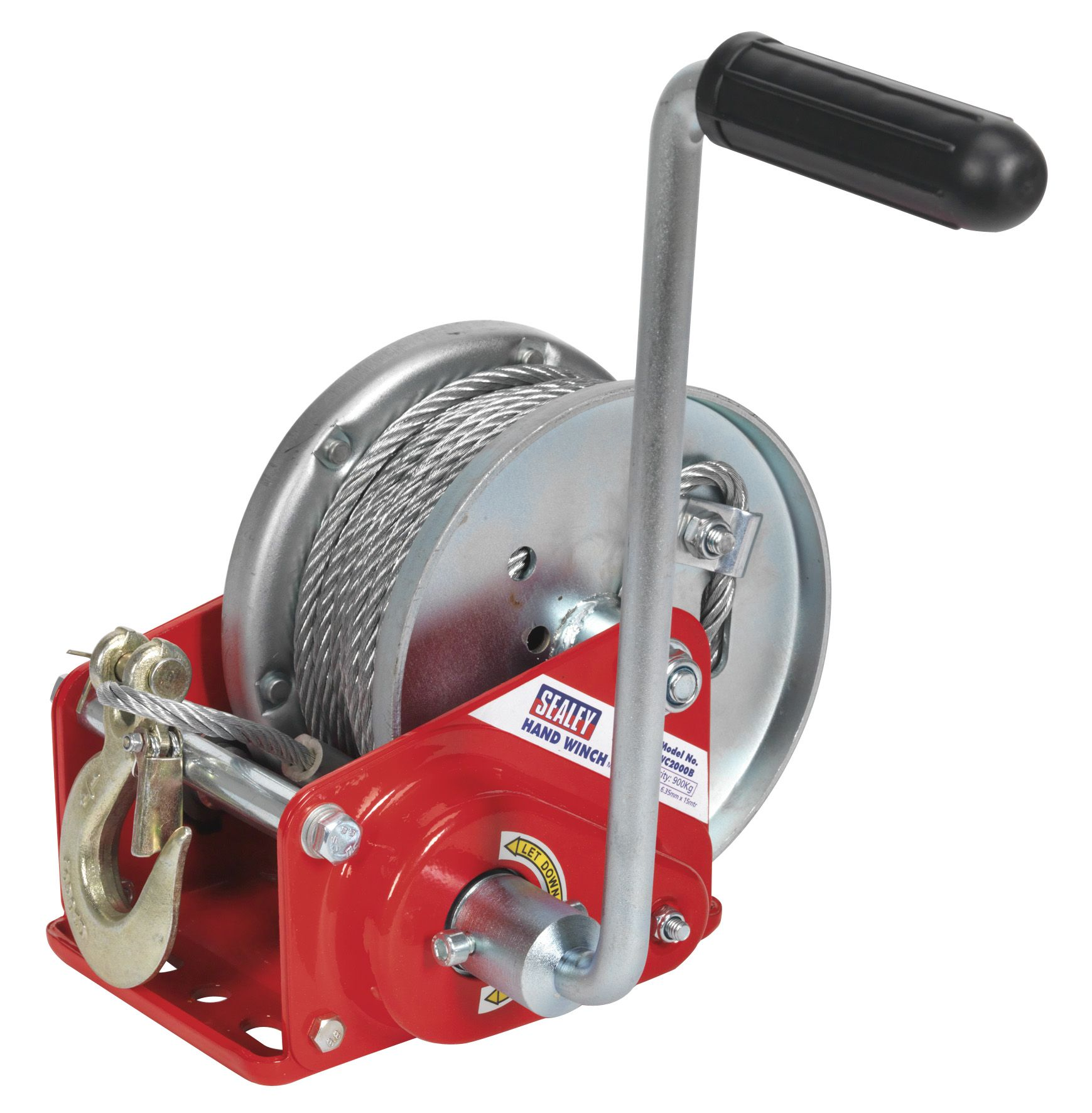 Sealey Geared Hand Winch with Brake & Cable 900kg Capacity