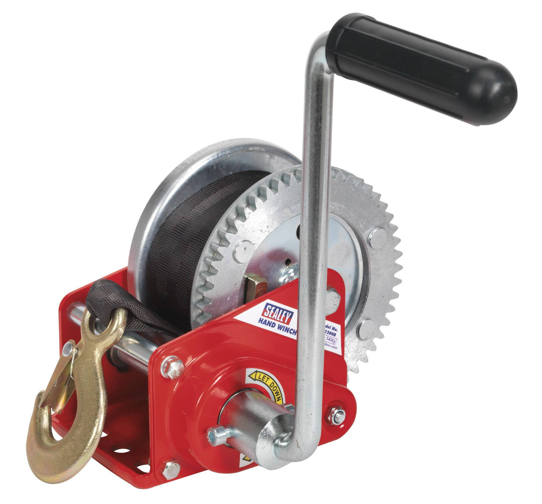 Sealey Geared Hand Winch with Brake & Webbing 540kg Capacity