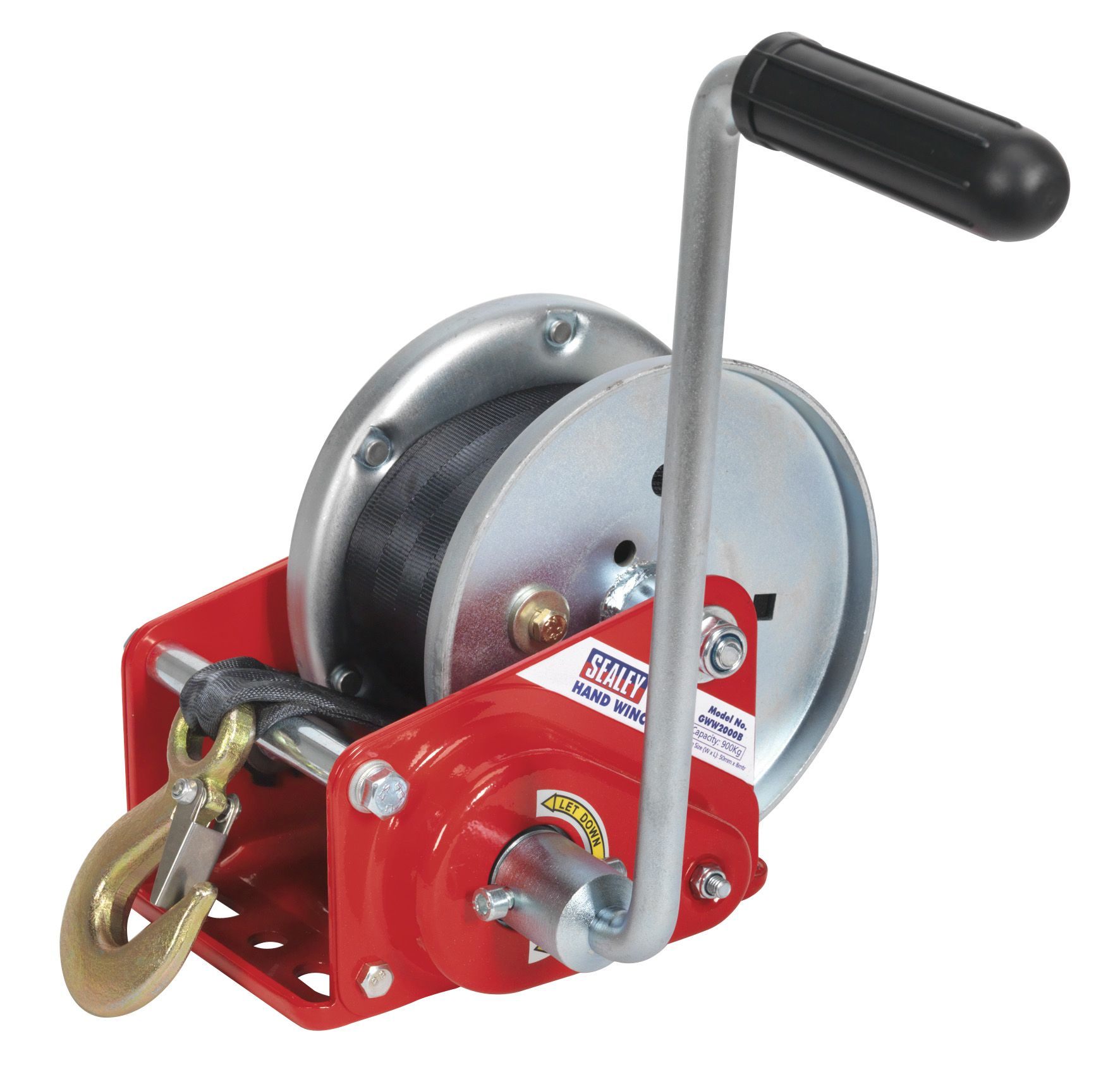 Sealey Geared Hand Winch with Brake & Webbing 900kg Capacity