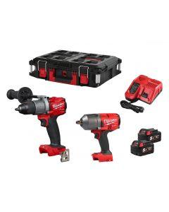 Milwaukee Fuel M18FPP2I2-502P 18v Combi & Impact Wrench Kit 2x 5Ah