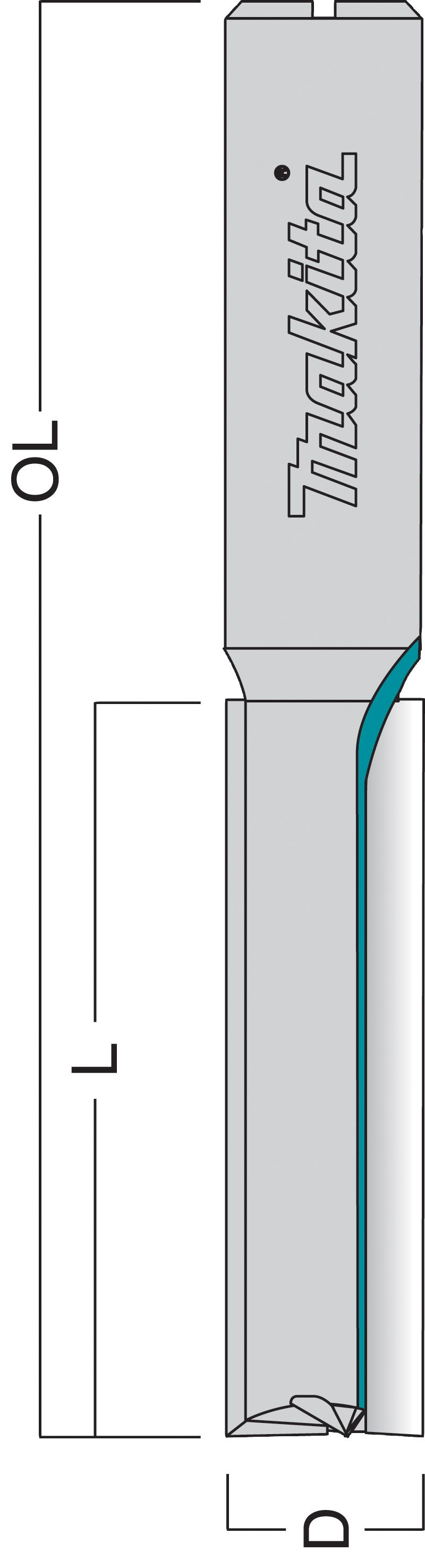 "Makita Straight Worktop Cutter 1/2"" Shank 12.7x50mm"