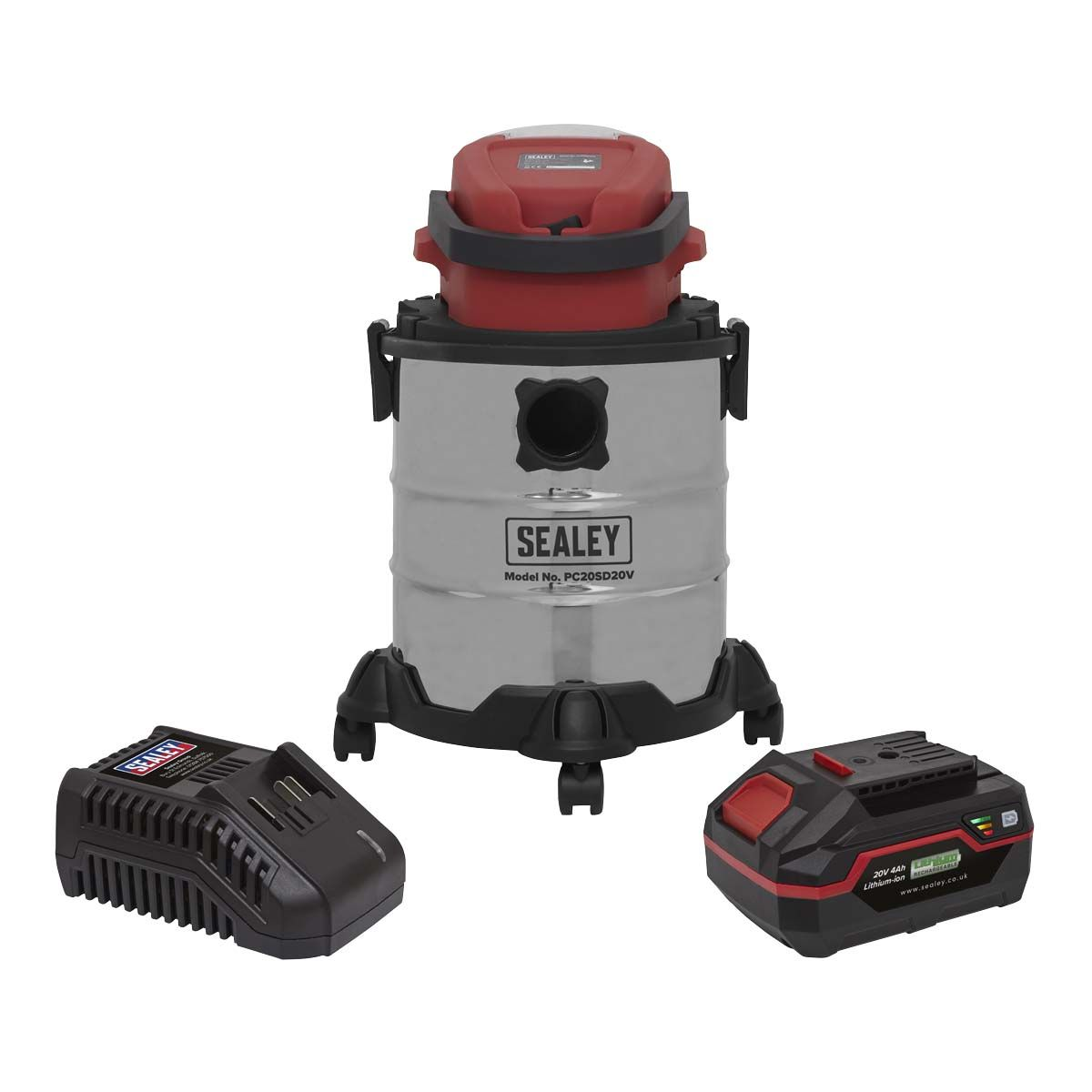 Sealey Vacuum Cleaner 20L Wet & Dry Cordless 20V with 4Ah Battery & Charger