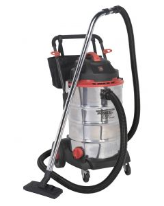 Sealey Vacuum Cleaner Wet & Dry 60L Stainless Drum 1600W/230V