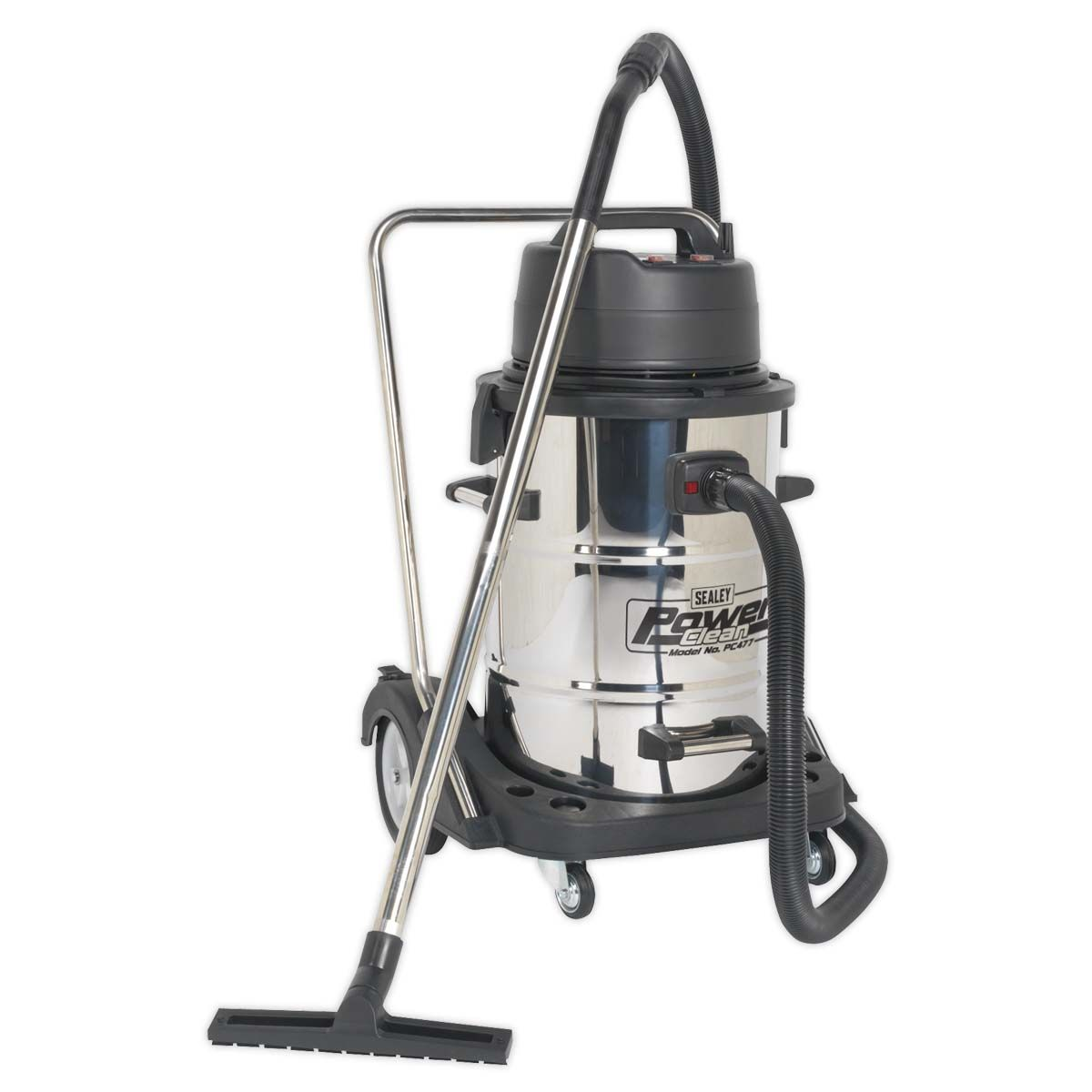 Sealey Vacuum Cleaner Industrial Wet & Dry 77L Stainless Steel Drum with Swivel