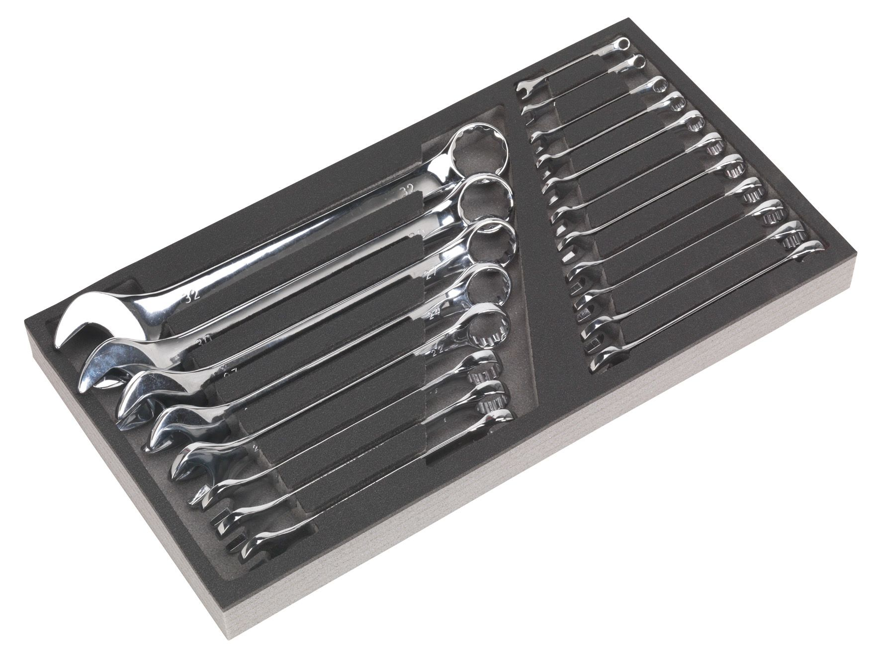 Siegen Tool Tray with Combination Spanner Set 19pc - Metric