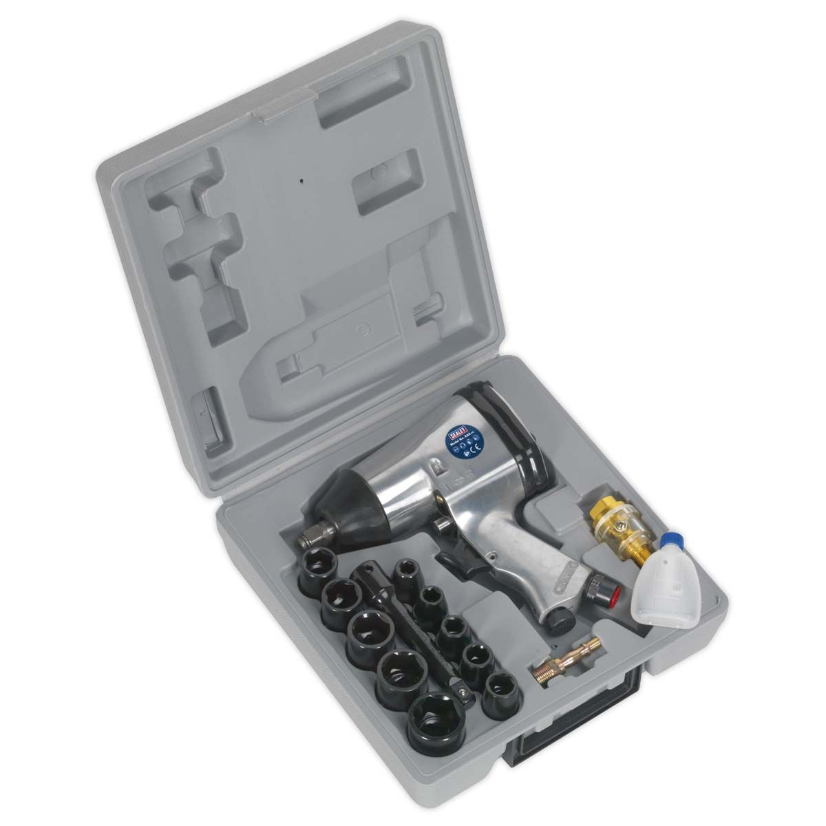 """Sealey Air Impact Wrench Kit with Sockets 1/2""""Sq Drive"""