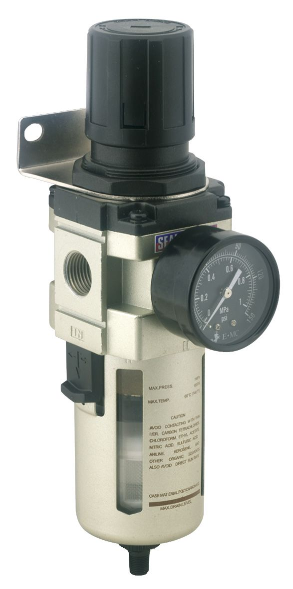 Sealey Air Filter/Regulator Auto Drain Max Airflow 140cfm