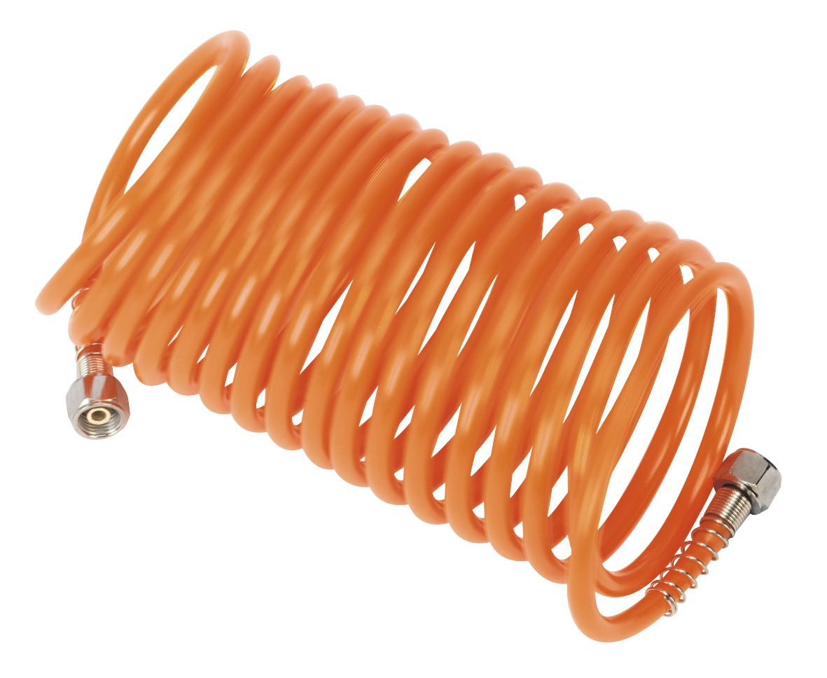 "Sealey PE Coiled Air Hose 5m x Ø5mm with 1/4""BSP Unions"