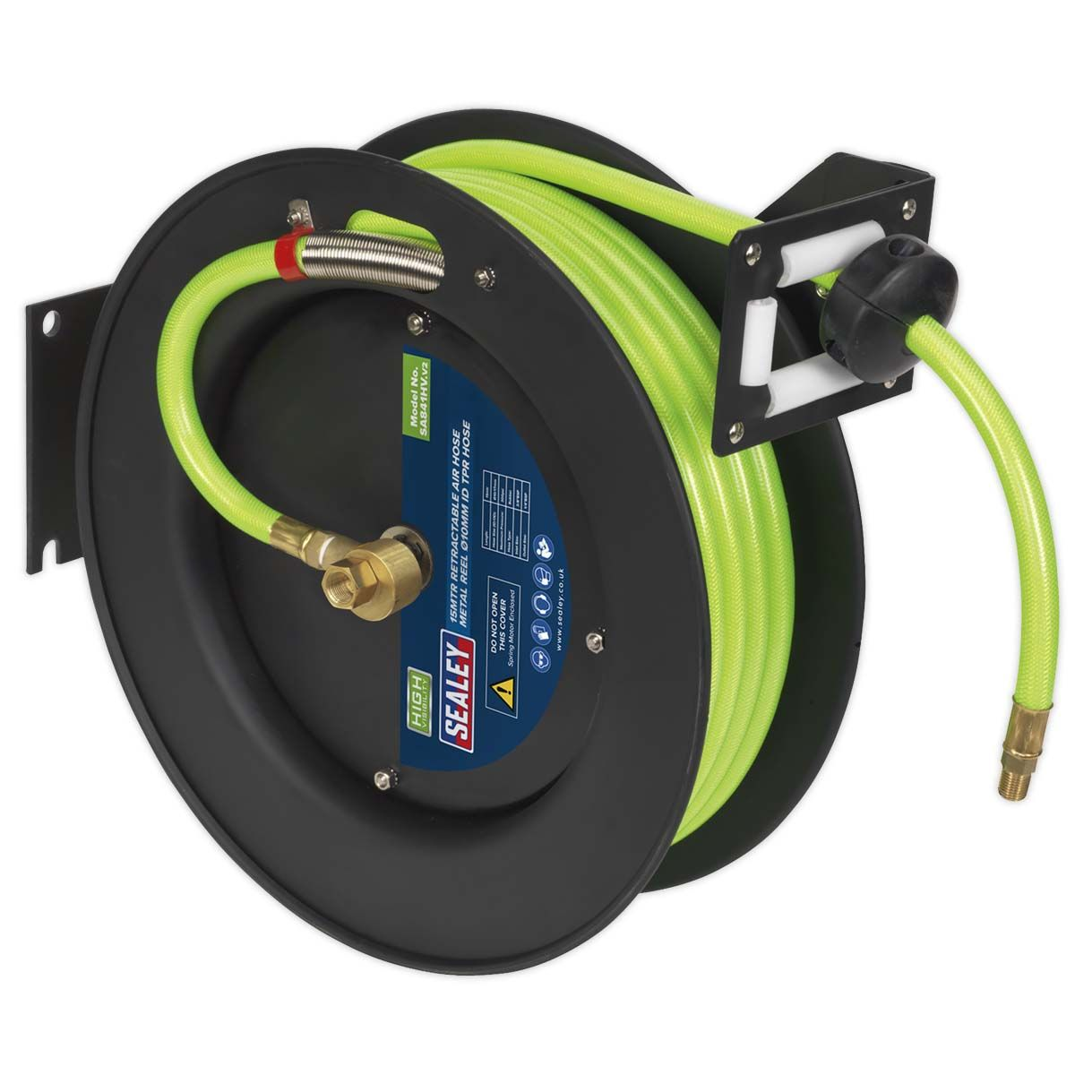 Sealey Retractable Air Hose Metal Reel 15m Ø10mm ID High Visibility TPR H