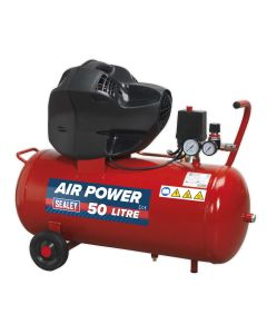 Sealey Compressor 50L V-Twin Belt Drive 3hp Oil Free