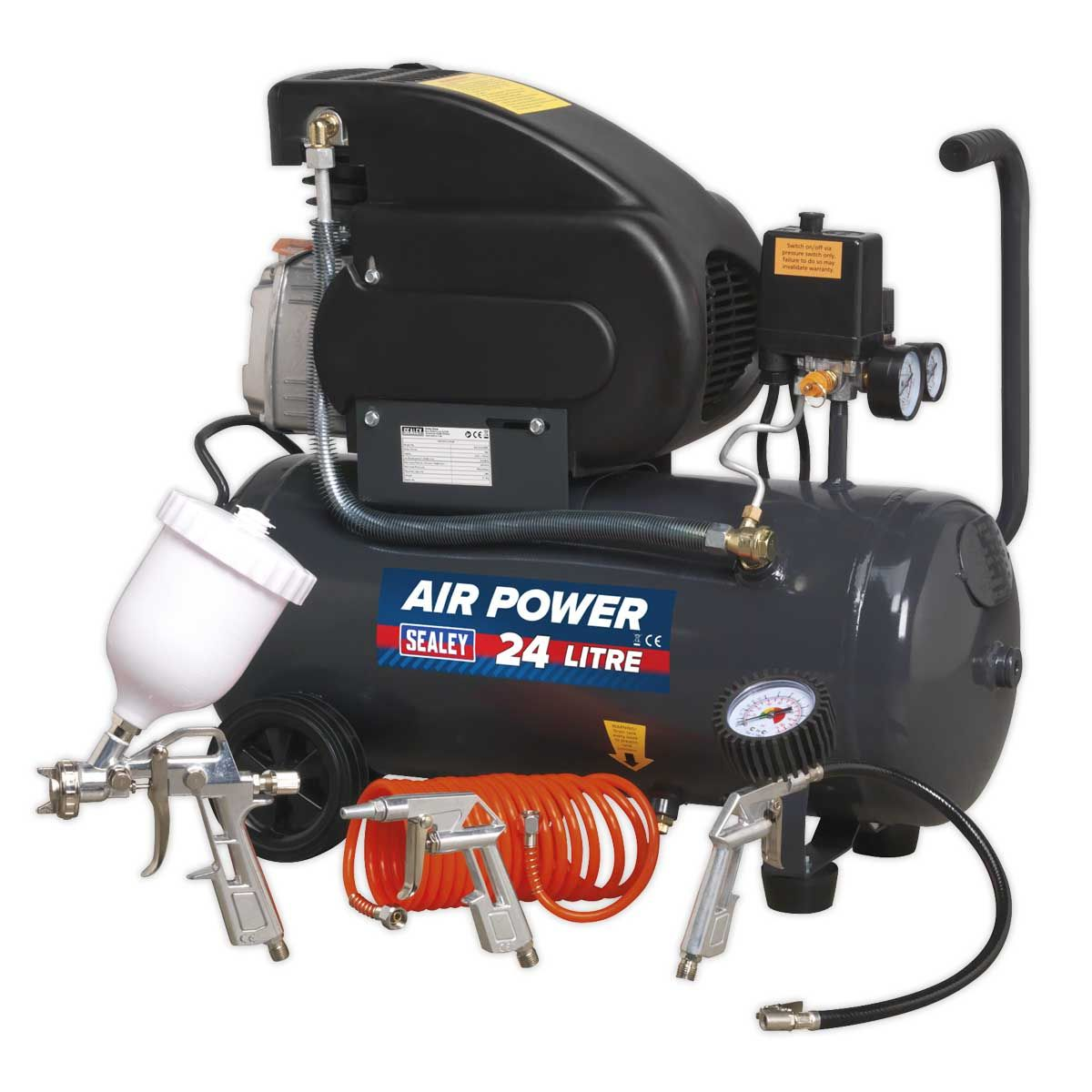 Sealey Compressor 24L Direct Drive 2hp with 4pc Air Accessory Kit