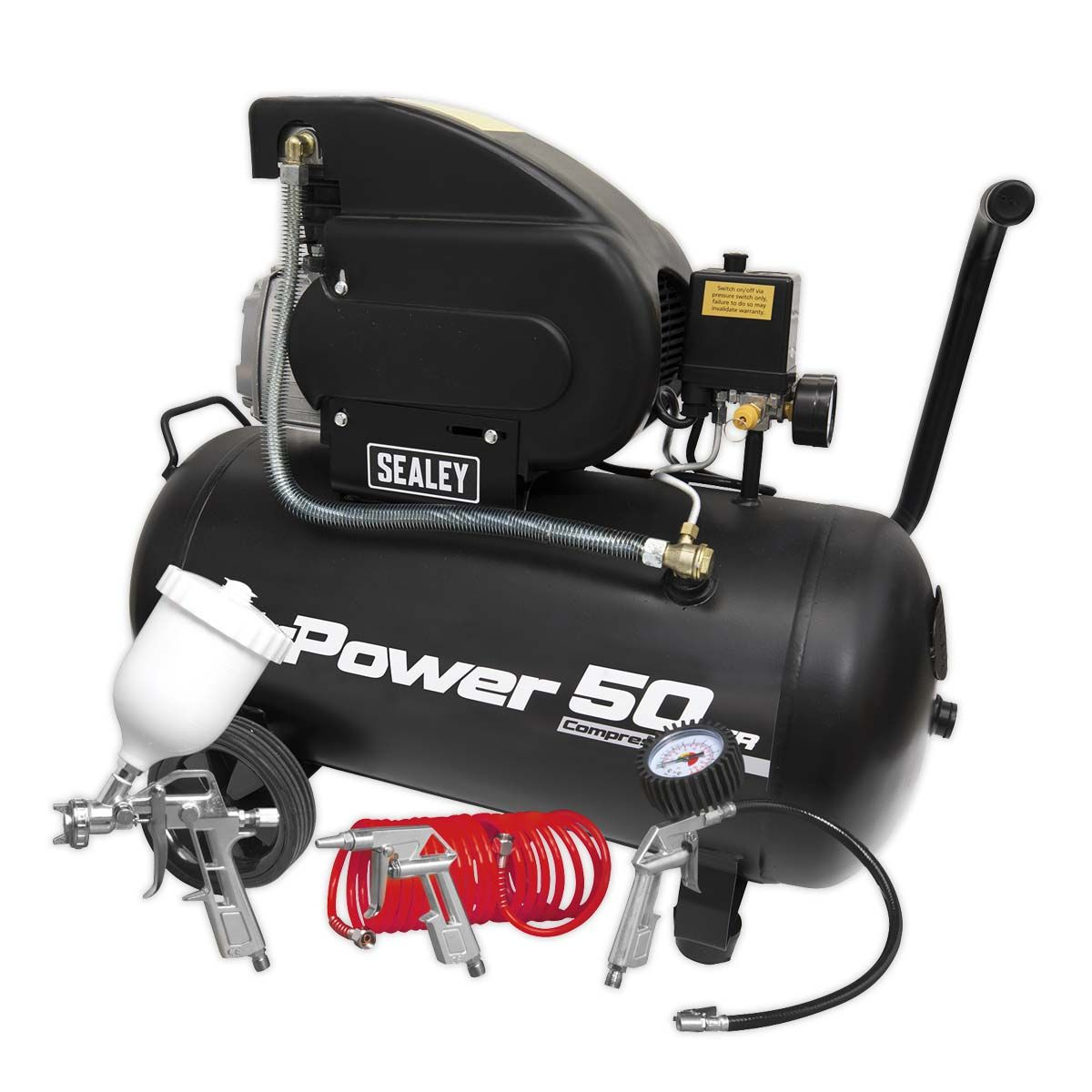 Sealey Compressor 50L Direct Drive 2hp with 4pc Air Accessory Kit