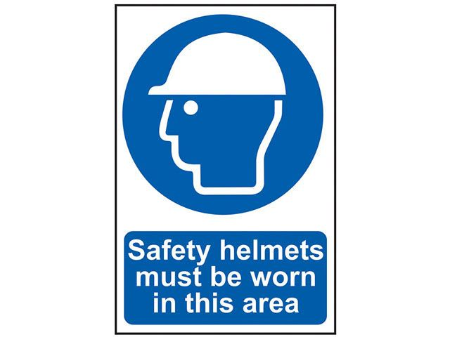 Scan Safety Helmets Must Be Worn In This Area - PVC 200 x 300mm