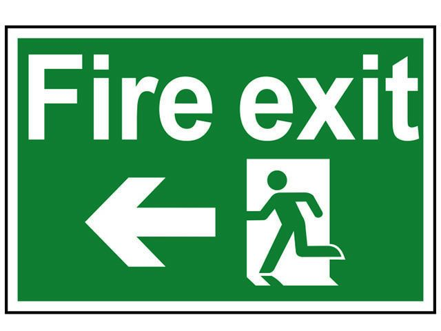 Scan Fire Exit Running Man Arrow Left - PVC 300 x 200mm