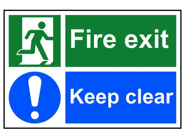Scan Fire Exit Keep Clear - PVC 300 x 200mm