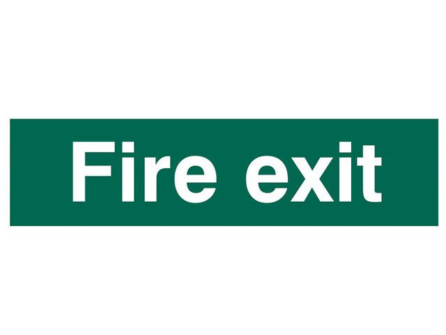 Scan Fire Exit Text Only - PVC 200 x 50mm