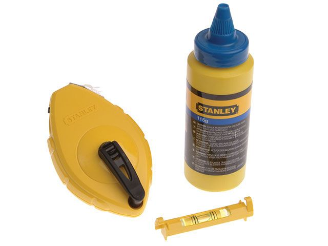 Stanley Tools Chalk Line 30m Blue Chalk & Level