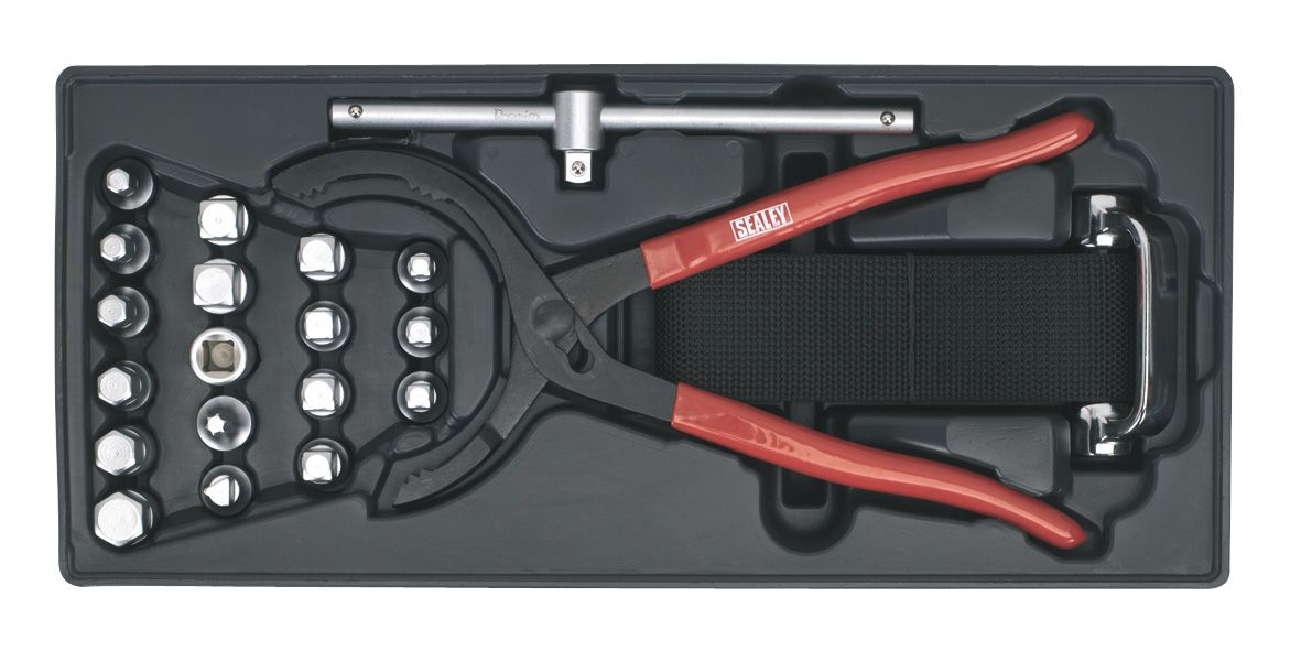 Sealey Tool Tray with Oil Filter Wrench, Pliers & Drain Plug Set 21pc