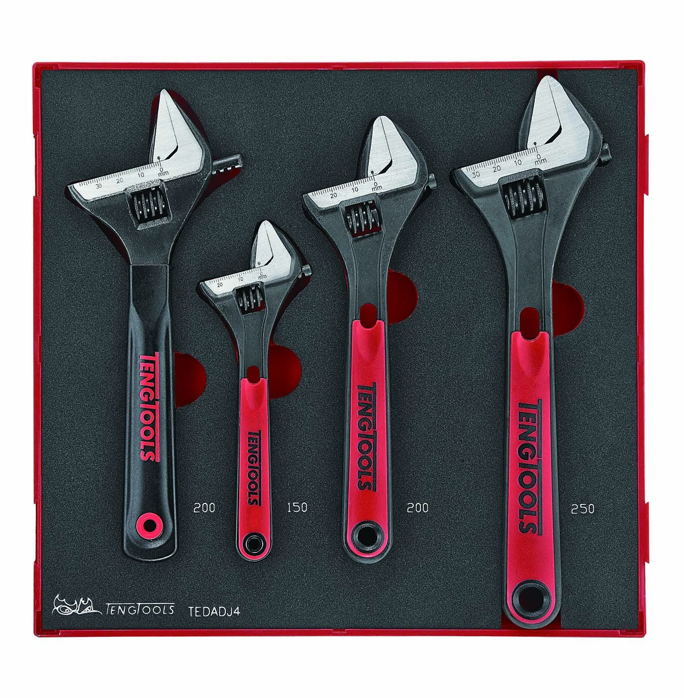 Teng Tools 4 Piece Adjustable Wrench Set