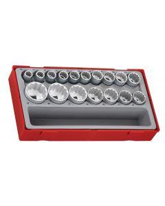 "Teng Tools 17 Piece 1/2"" Drive 12 Point Socket Set"
