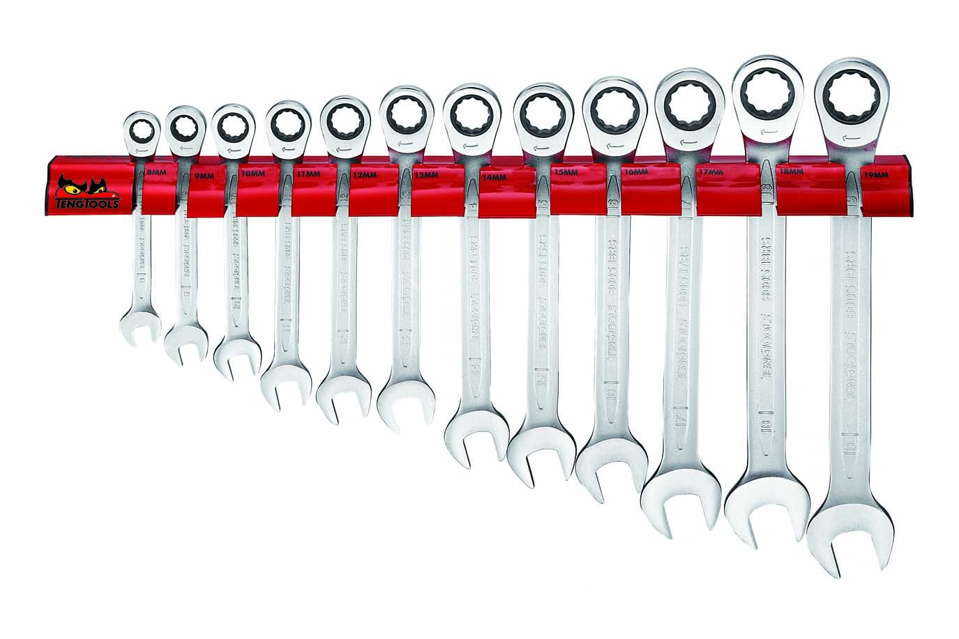 Teng Tools 12 Piece Ratcheting Combination Spanner Rack