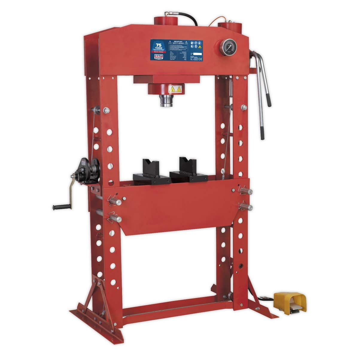 Sealey Air/Hydraulic Press 75tonne Floor Type with Foot Pedal