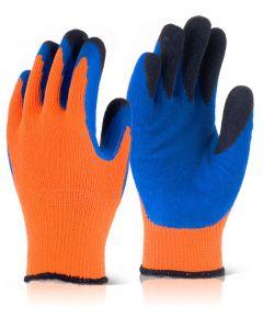 B Flex Latex Thermo Star F-Dip Thermal Gloves Hi Vis Orange