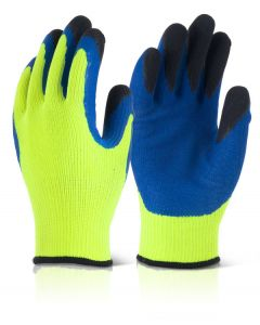 B Flex Latex Thermo Star F-Dip Thermal Gloves Hi Vis Yellow