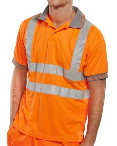 B-Seen Hi-Vis Railway Polo Shirt Orange