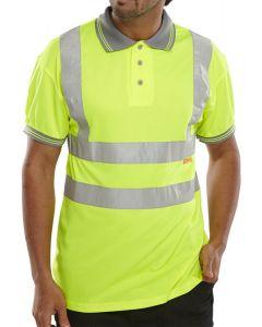 B-Seen Hi-Vis Short Sleeved Polo Shirt Saturn Yellow