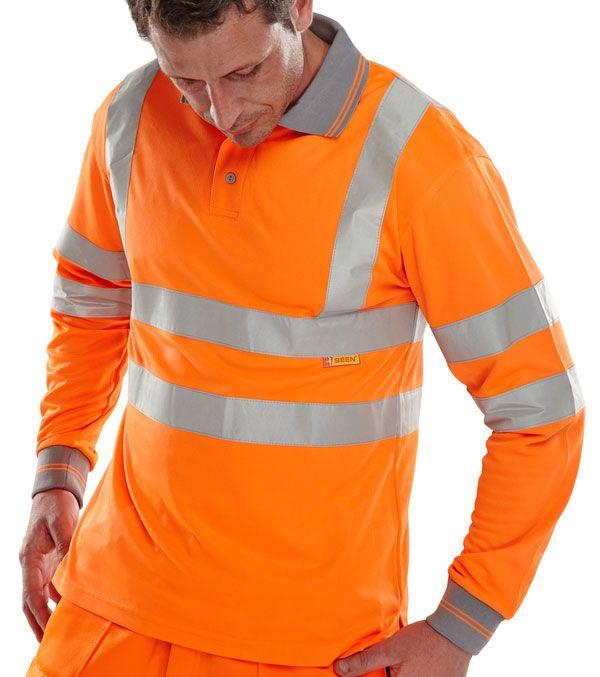B-Seen Hi-Vis Railway Long Sleeve Polo Shirt Orange