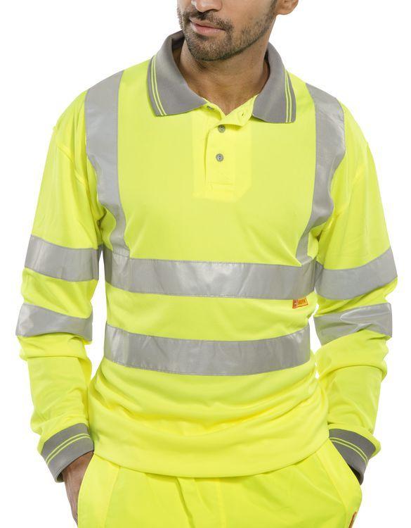 B-Seen Hi-Vis Long Sleeved Polo Shirt Saturn Yellow
