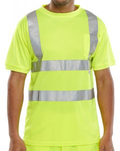 B-Seen Hi-Vis Crew Neck T-Shirt Saturn Yellow