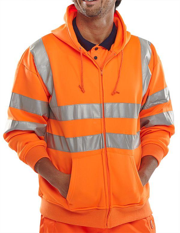 B-Seen Hi-Vis Railway Hooded Sweatshirt Orange