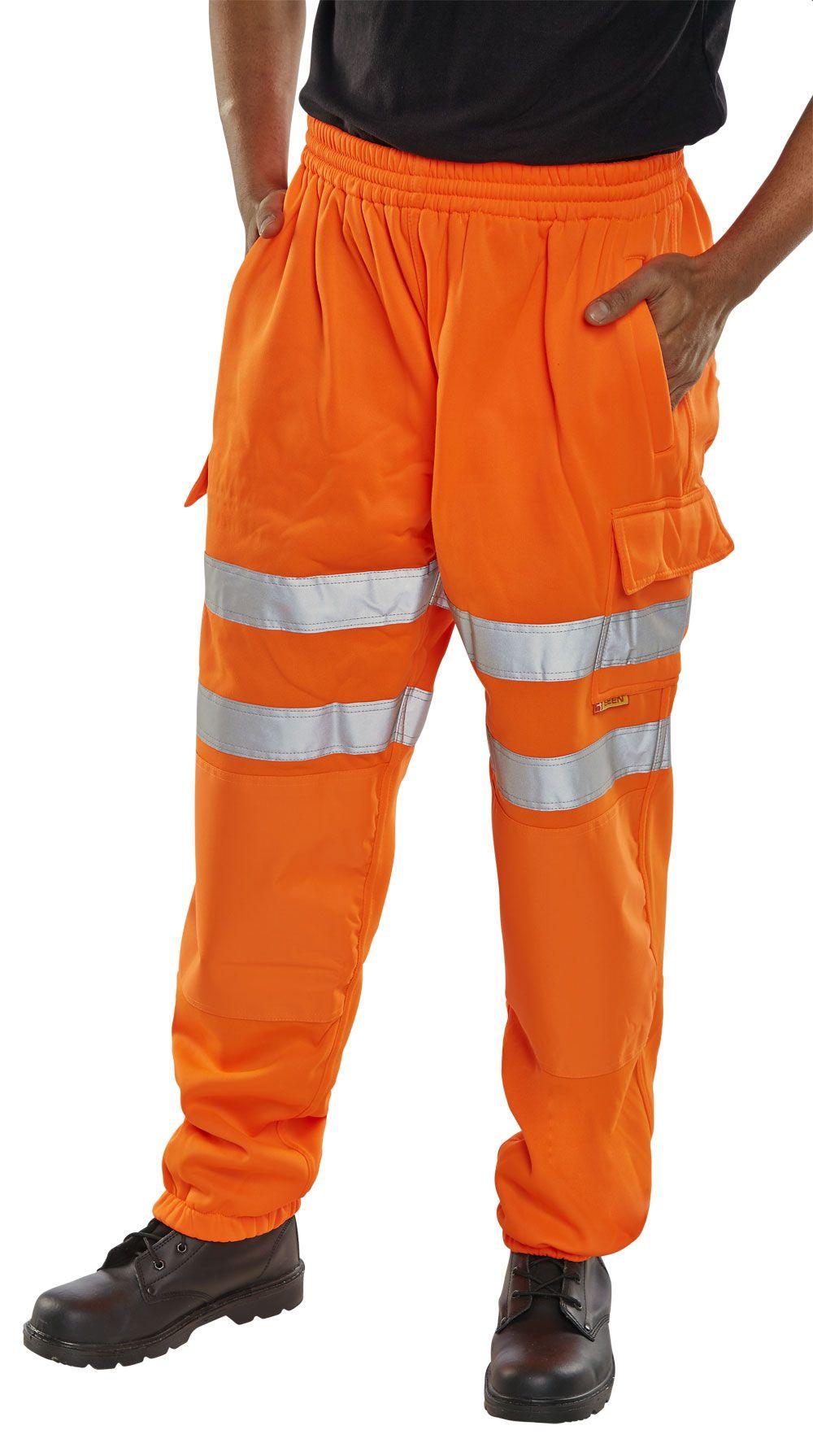 B-Seen Hi-Vis Railway Jogging Bottoms Trousers Orange