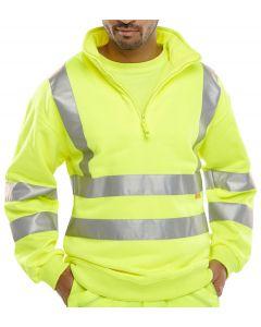 B-Seen Hi-Vis Quarter Zipped Sweatshirt Saturn Yellow