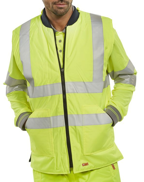 B-Seen Hi-Vis Reversible Bodywarmer Yellow / Navy