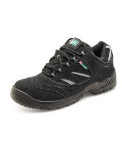 Click Dual Density S1P Full Safety Leather Trainer Shoes Black