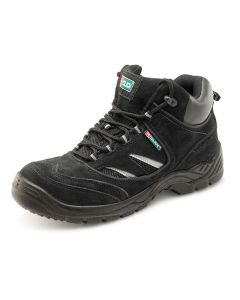 Click S1P Full Safety Steel Toe Cap Leather Trainer Boots Black