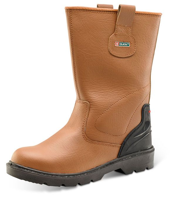 Click S1P Premium Full Safety Steel Toe Cap Leather Lined Rigger Boots Tan