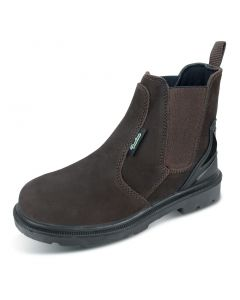 Click Traders S3 Steel Toe Cap PU / Rubber Dealer Leather Boots Brown