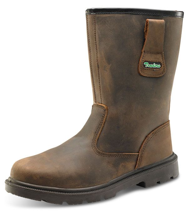 Click Traders S3 Full Safety Steel Toe Cap PU / Rubber Rigger Leather Lined Boots Brown