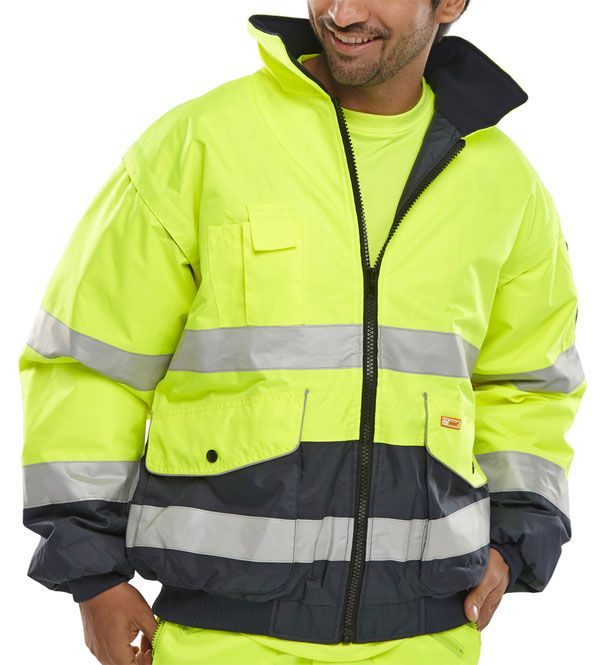 B-Seen Hi-Vis Europa Bomber Jacket Two Tone Yellow / Navy