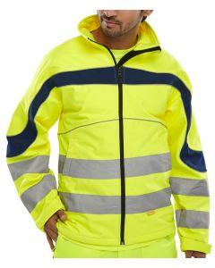 B-Seen Hi-Vis Eton Soft Shell Jacket Saturn Yellow / Navy